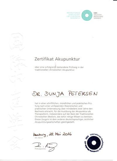 Akupunktur-Zertifikat Deutschland Dr. Dunja Petersen