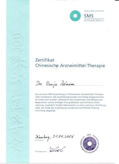 Zertifikat Chinesische Arzneitherapie Dr. Dunja Petersen